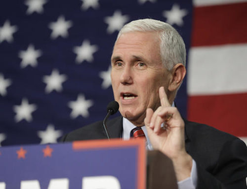 "In this Sept. 30, 2016 file photo, Republican vice presidential candidate, Indiana Gov. Mike Pence speaks in Fort Wayne, Ind. Pence musters all of his Midwestern earnestness as he describes Donald Trump as ""a man of faith."" He says the Republican nominee is ""a man I've prayed with and gotten to know on a personal level."""