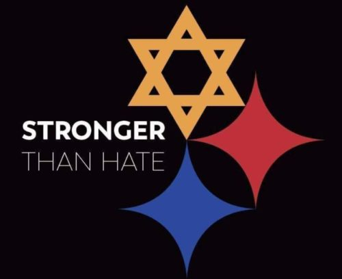 A modified version of the Pittsburgh Steelers' logo has been used to show support for the victims of the shooting.