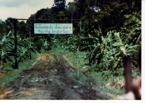 The entrance to Jonestown
