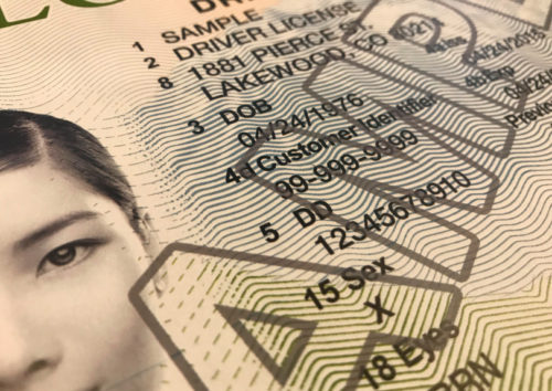 """A close up of a sample Colorado drivers license with an """"x"""" as the gender identifier."""