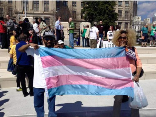 """Transgender activists protest so-called """"religious freedom"""" laws meant to discriminate against LGBTQ people."""
