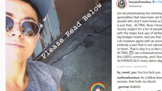 A screenshot of an Instagram post with a picture of Briana Venskus, a rainbow, and text.