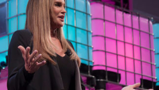 LISBON, PORTUGAL - NOVEMBER 2017: American television personality Caitlyn Jenner speaks onstage at the Web Summit in Lisbon about her life and her transgender journey.