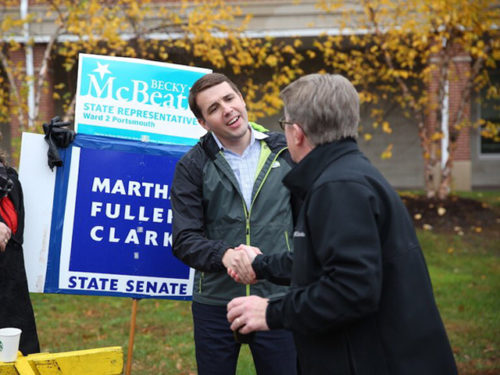 Chris Pappas canvassing with a supporter
