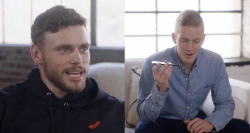A composite image of Gus Kenworthy and John, who is talking on his phone.