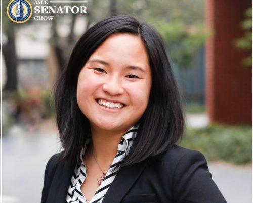 "Isabella Chow with an ""ASUC Senator"" seal"