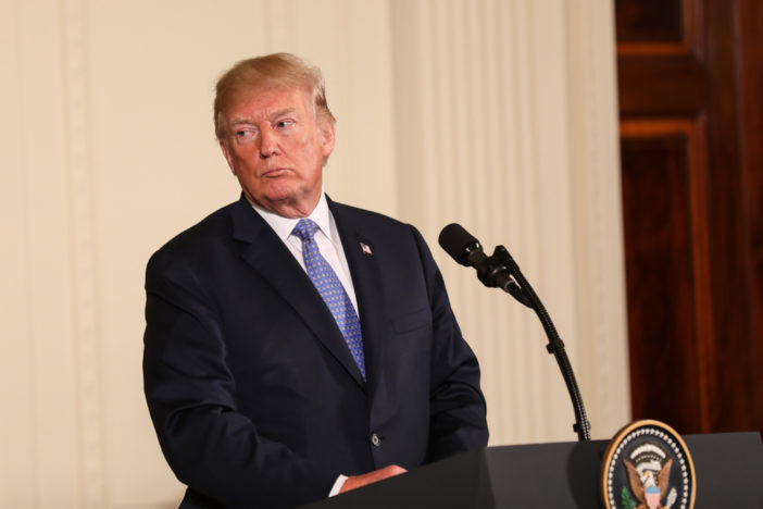 April 27, 2018: US President Donald Trump speaks at a press conference in the East Room of the White House alongside German Chancellor Angela Merkel.