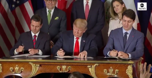Mexican President Pena Nieto, Canadian Prime Minister Trudeau and American President Trump sign a revised trade pact at the G-20 summit in Argentina.