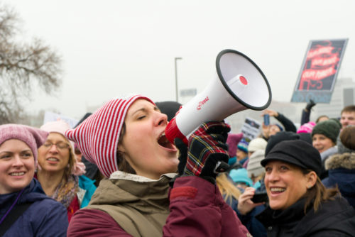 JANUARY 21, 2016: Unidentified particpants at the 2017 Women's March Minnesota. The Women's March represented the worldwide protest to protect women's rights and other causes.