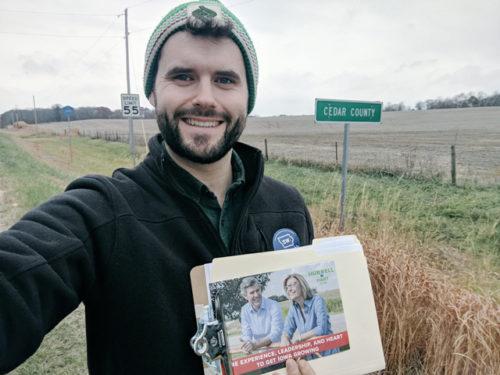 Zach Whals, canvassing in Iowa