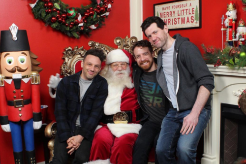 "Billy Eichner and a gang of friends climbed on an older man's lap and asked him for ""gifts."""