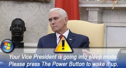 Mike Pence appeared to fall asleep during a contentious Oval Office meeting with President Trump and Democratic leaders Nancy Pelosi and Chuck Schumer.