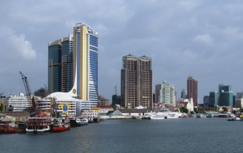 The waterfront of Dar es Salaam, Tanzania.