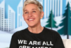 "Ellen wearing a black T-shirt that says ""We are all dreamers."""