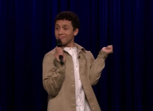 A comedian with a microphone