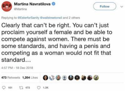 Screenshot of deleted tweet by Martina Navratilova