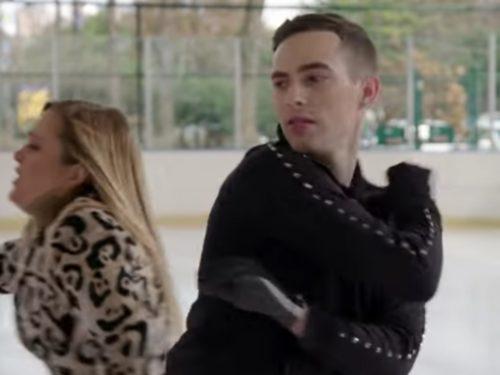 Samantha Bee skating past Adam Rippon