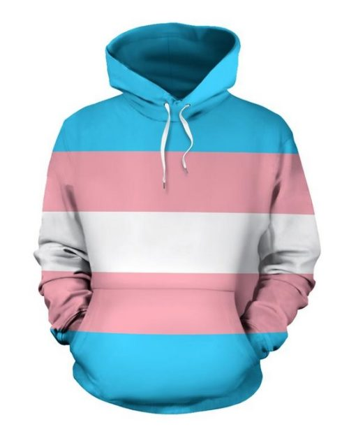 A sweater in the colors of the transgender flag