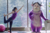 "A woman does yoga while her ""worry monster"" watches in a new POM commercial targeted by the religious right"