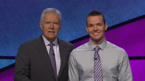 Jeopardy host Alex Trebek and contestant John Presloid