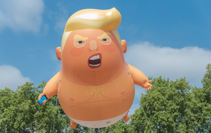 "A balloon of ""baby Trump"" floats over London on 7/13/18."