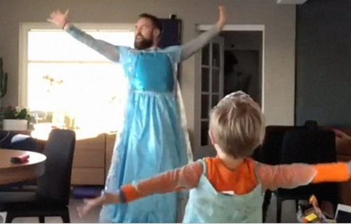 Dad and son in dresses