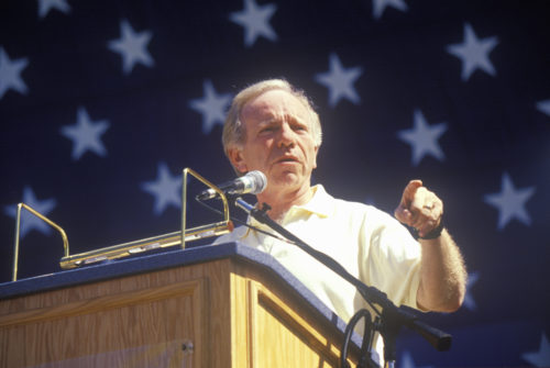 Senator Joe Lieberman campaigns for vice president during a rally at California State University at Fresno in 2000