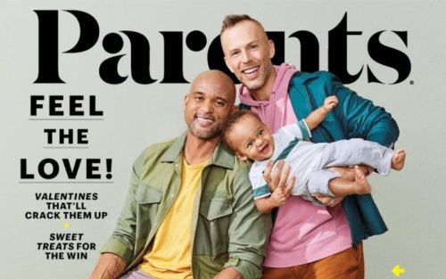 "Shaun T Fitness and his husban on the cover of ""Parents"""