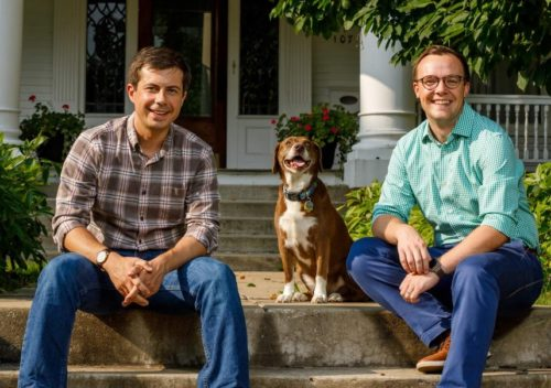 Pete Buttigieg (left) with his husband Chasten