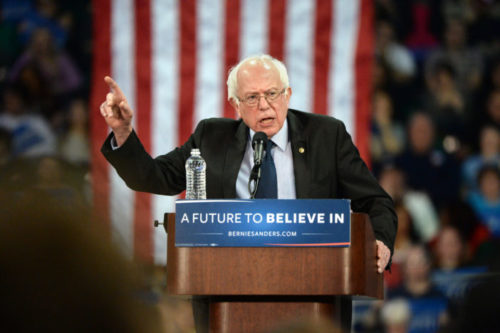 Bernie Sanders giving a speech.