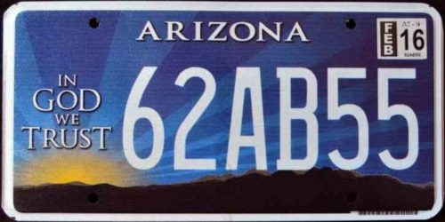 "Arizona's ""In God We Trust"" license plate"