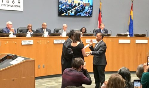 Vernetta Alston is sworn in as a Durham, North Carolina, city councilor