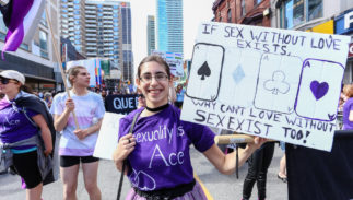Asexuals march in Toronto's LGBTQ pride parade in 2017.