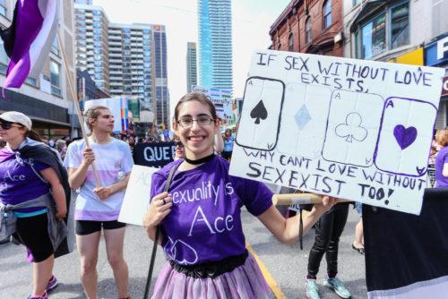 Asexuals march in Toronto's LGBTQ pride parade in 2017.
