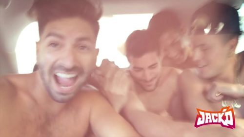 Shirtless men in a car with the logo for Jack'd