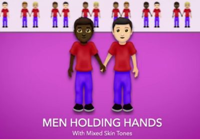 An emoji of a black and white man holding hands