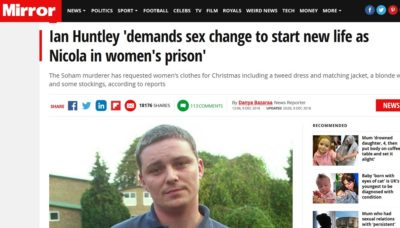 A headline about Ian Huntley on the Mirror's website