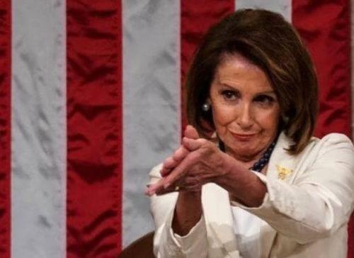 Nancy Pelosi clapping sarcastically