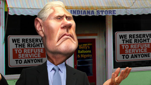 A caricature of Mike Pence