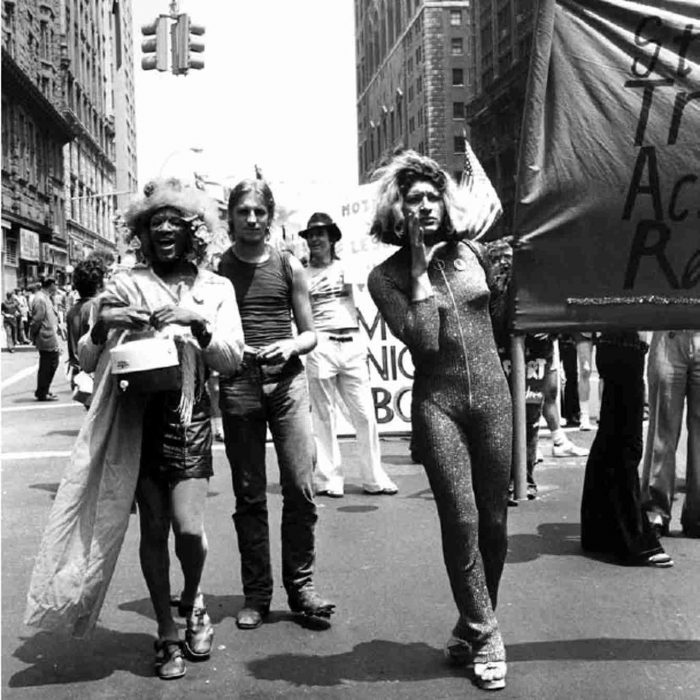 Marsha P. Johnson (left) and Sylvia Rivera (holding the banner), co-founders of the Street Transvestite Action Revolutionaries (STAR), participating in the 1973 Gay Pride March. Photo by Leonard Fink. Courtesy of the LGBT Community Center National History Archive.
