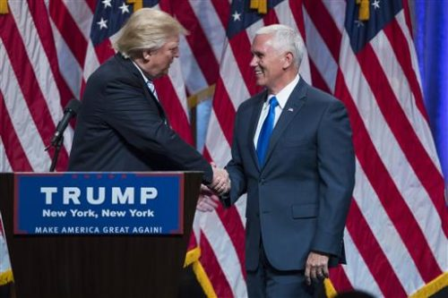 Trump and Pence at a campaign event in 2016