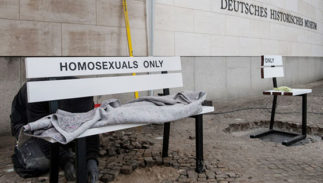 "A bench that says ""homosexuals only."""