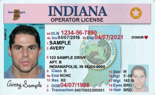 An example of Indiana's commercial drivers license