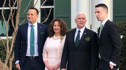 Varadkar, Pence, and others gathered outside the Naval Observatory