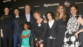 "Whitney Cummings, Michael Fishman, John Goodman, Jayden Rey, Roseanne Barr, Sara Gilbert, Sarah Chalke, Emma Kenney at the ""Roseanne"" Event at Disney Studios on March 23, 2018"