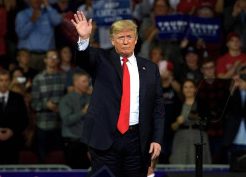 October 6, 2018 President Donald Trump at MAGA rally in support of Kansas Secretary of State Kris Kobach