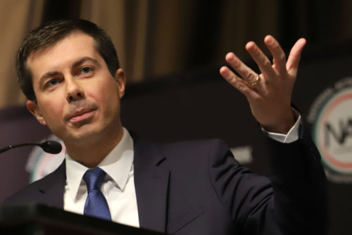Democratic presidential candidate Pete Buttigieg speaks during the National Action Network Convention on April 4, 2019, in New York.