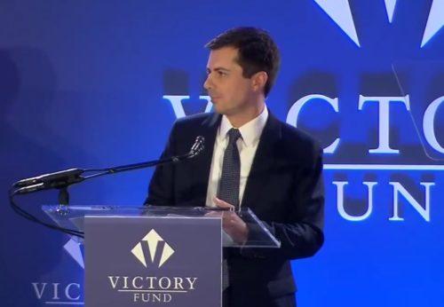 Pete Buttigieg speaking at the Victory Fund