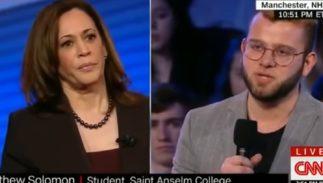 Senator Kamala Harris takes a question on LGBTQ rights from a student.