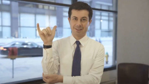 Pete Buttigieg, sign language